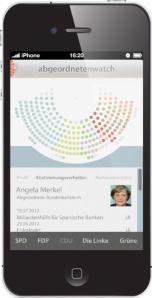So soll die geplante Abgeordnetenwatch-App aussehen. Foto: Abgeordnetenwatch.de